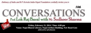 Conversations with Sudheer Sharma and Professor Lok Raj Baral at Nepal Bharat Library